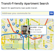 Transit-friendly apartment search (TransitScore)