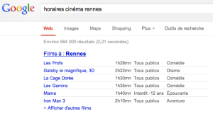 Les horaires des films à Rennes (Google Movies)