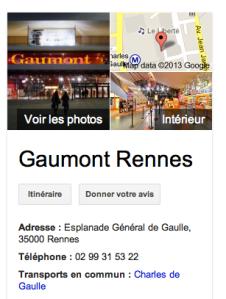 L'infobox Google fournit directement l'adresse, le numéro de téléphone et l'itinéraire