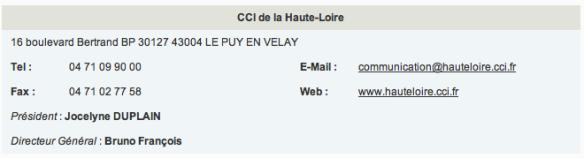 La fiche d'une CCI (source CCI France)